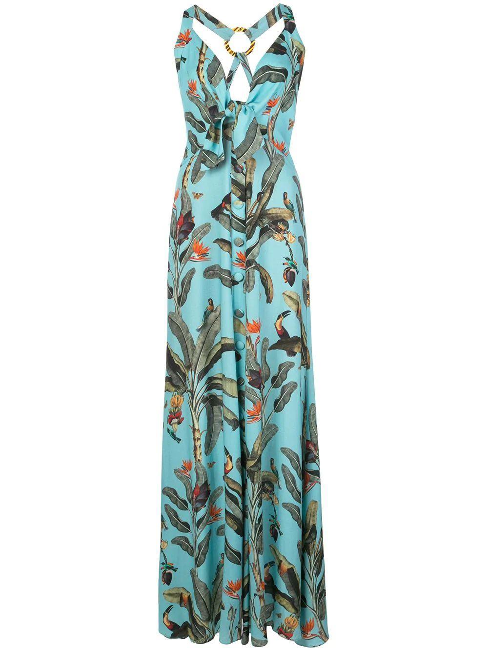 Tropical Print Halter Maxi Dress