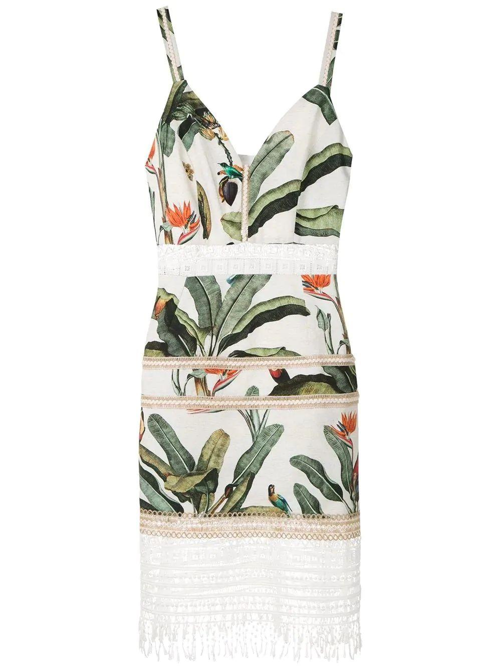 Tropical Print Lace Trim Mini Dress Item # VES2243CUS