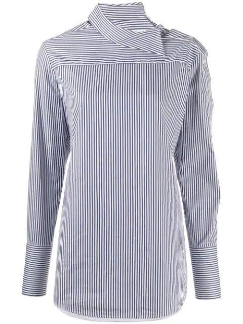 Peplum Sleeve Stripe Button Down Shirt Item # 2120WSH000880A