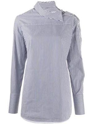 Peplum Sleeve Stripe Button Down Shirt