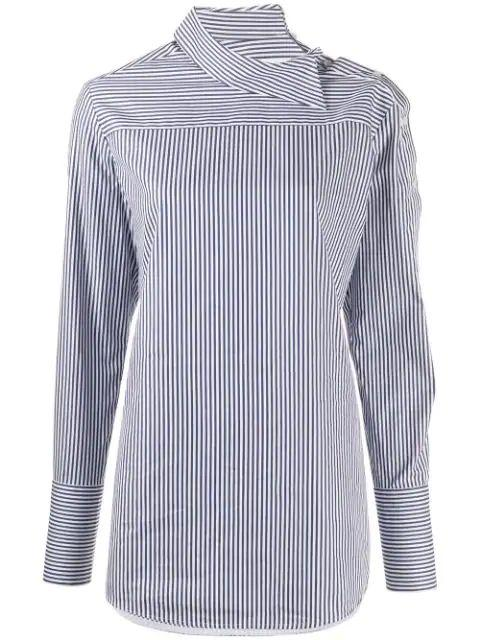 Peplum Sleeve Stripe Button Down Shirt