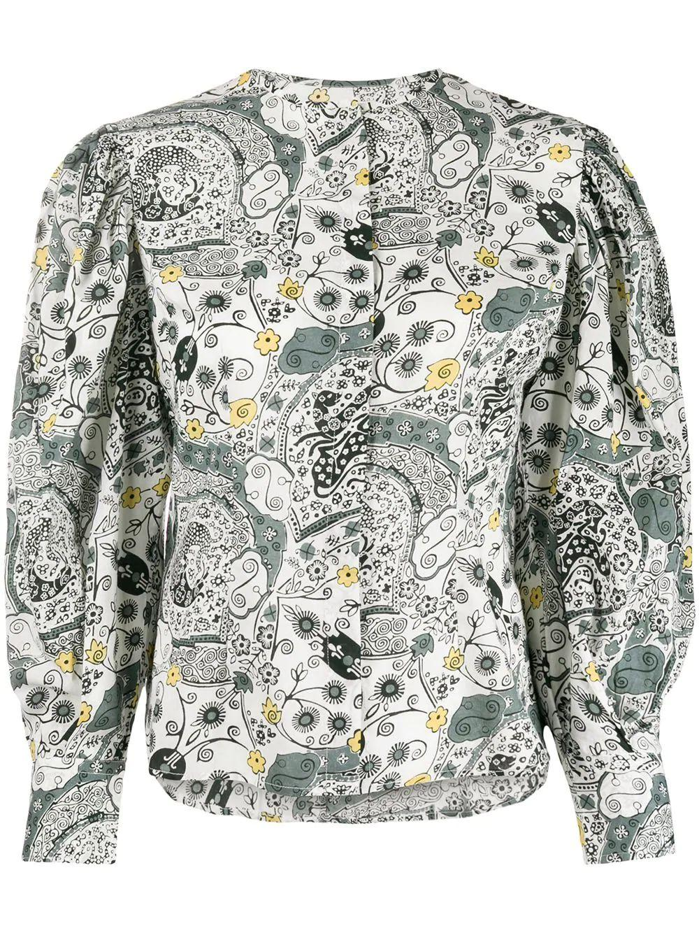 Long Sleeve Printed Button Up Blouse