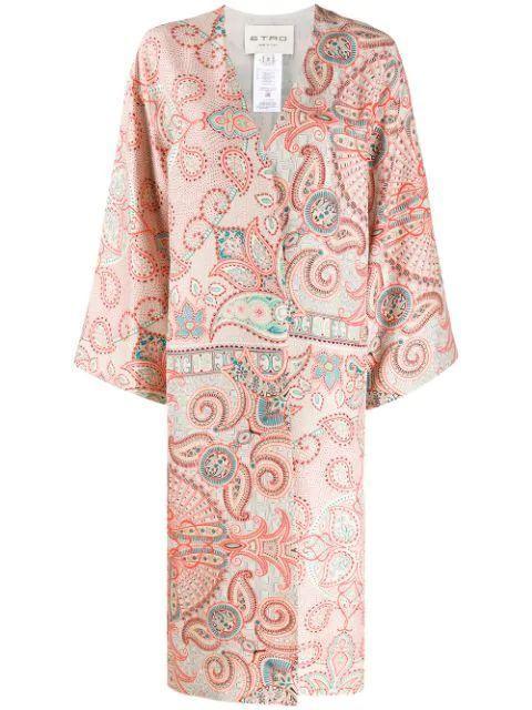 Printed Mid Calf Silk Kimono Duster Item # 13212-4328