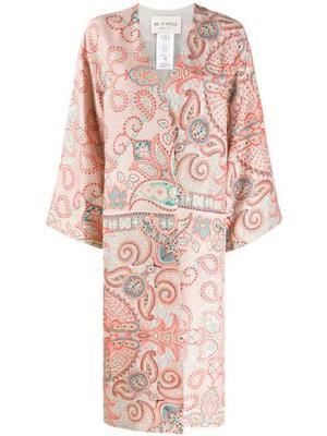 Printed Mid Calf Silk Kimono Duster