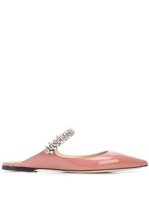 Patent Flat Mule With Crystal Strap