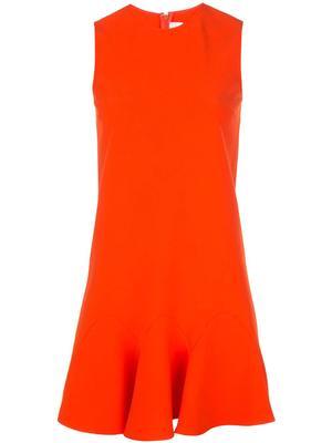 Sleeve Less Flounce Hem Shift Dress