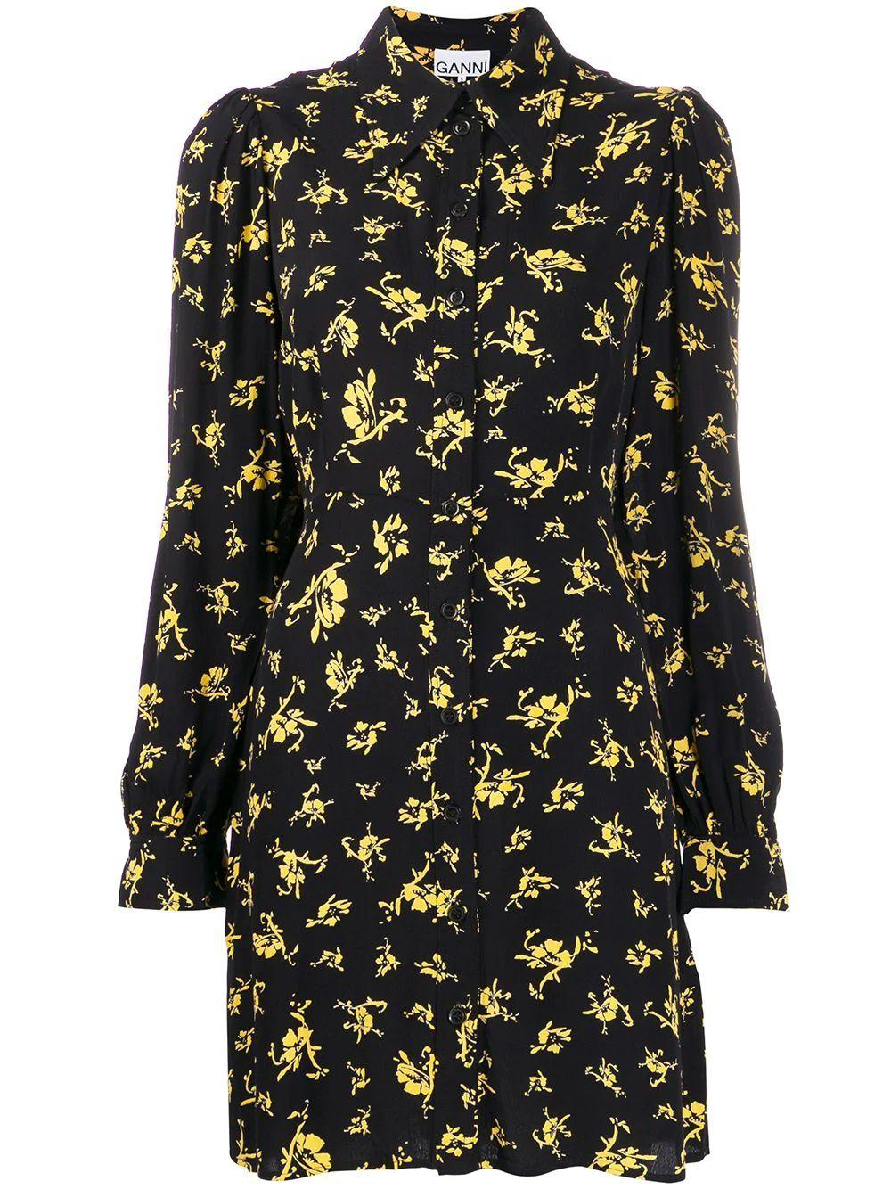Flower Print Buttondown Crepe Dress Item # F4356