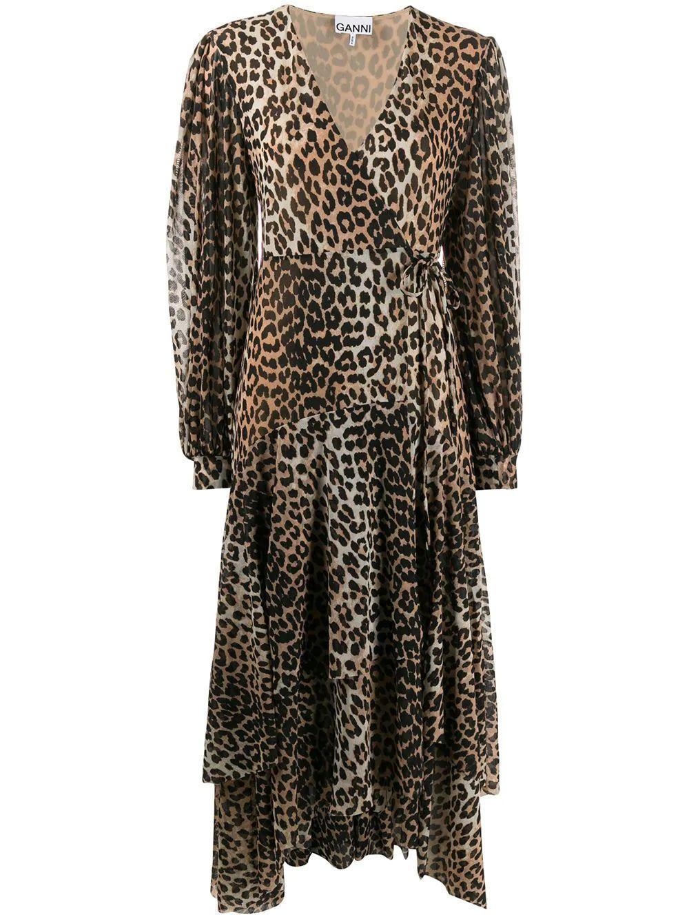 Leopard Print Mesh Wrap Tie Maxi Dress