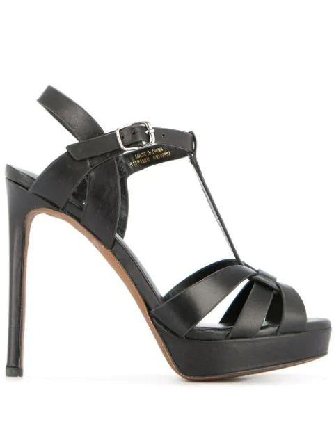Leather High Heel Sandal Item # 411P10BK-R20