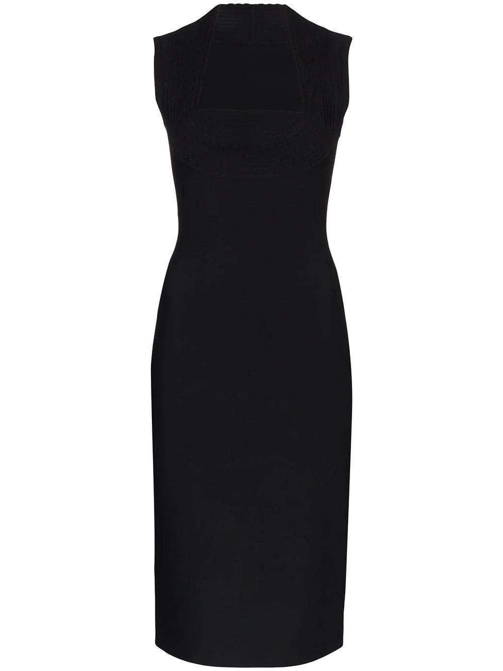 Sleeve Less Slim Fit Square Neck Dress