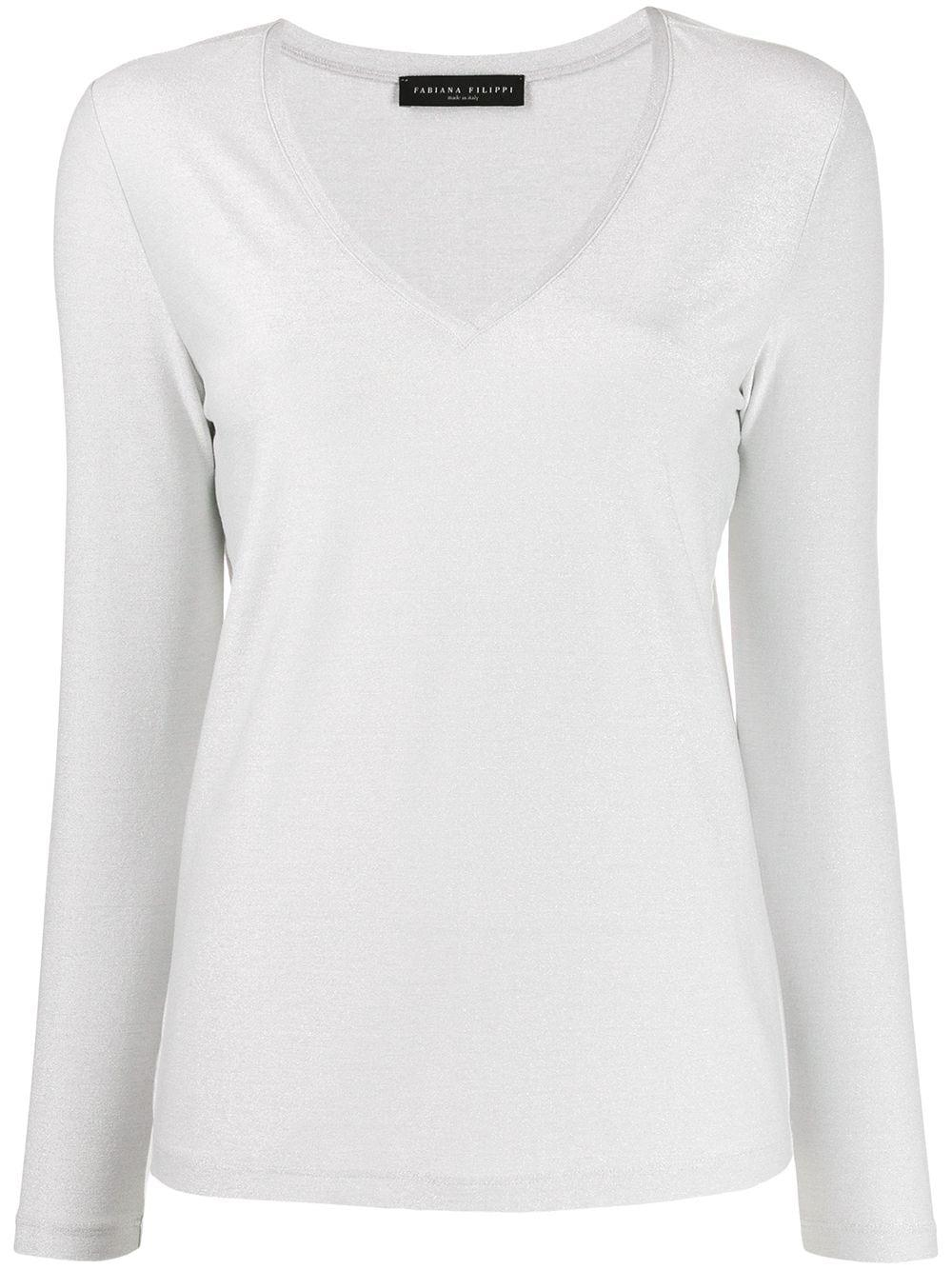 Long Sleeve V- Neck Lurex Jersey Top Item # JED260B970