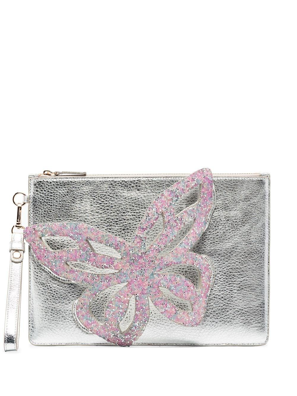 Flossy Butterfly Embellished Pouch