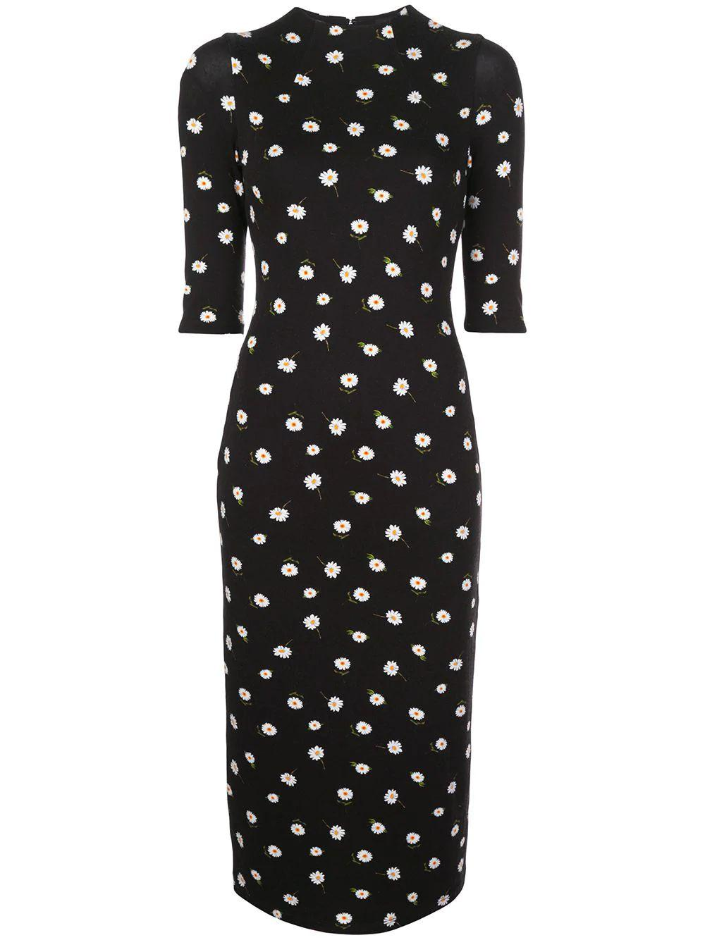 Delora Fitted 3/4 Print Midi Dress