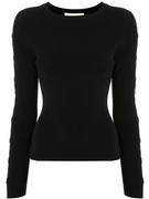 Long Sleeve Rib Knit Crew Neck Top