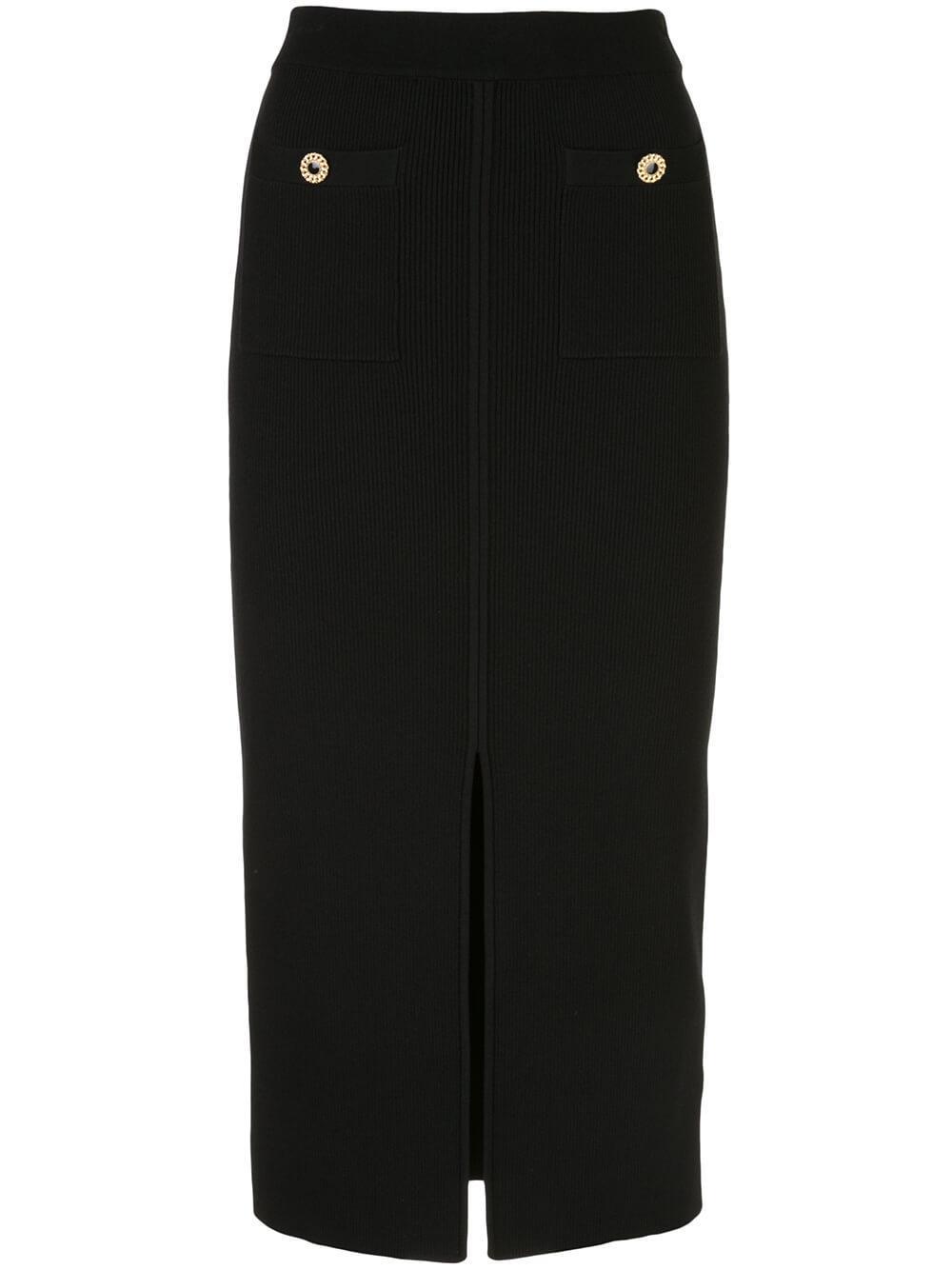 Rib Knit Front Slit Skirt Item # 120-3004-K