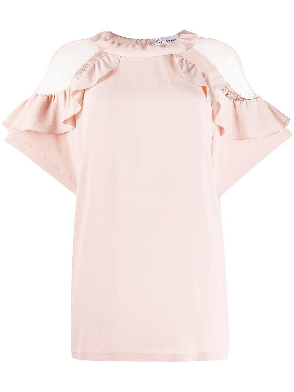 Short Sleeve Ruffle Blouse Item # TR3AAA954SG