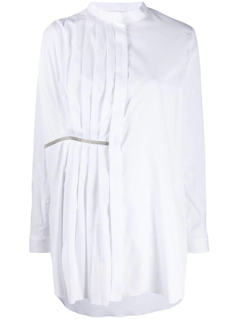 Long Sleeve Poplin Tunic With Pleats Item # CAD260W829