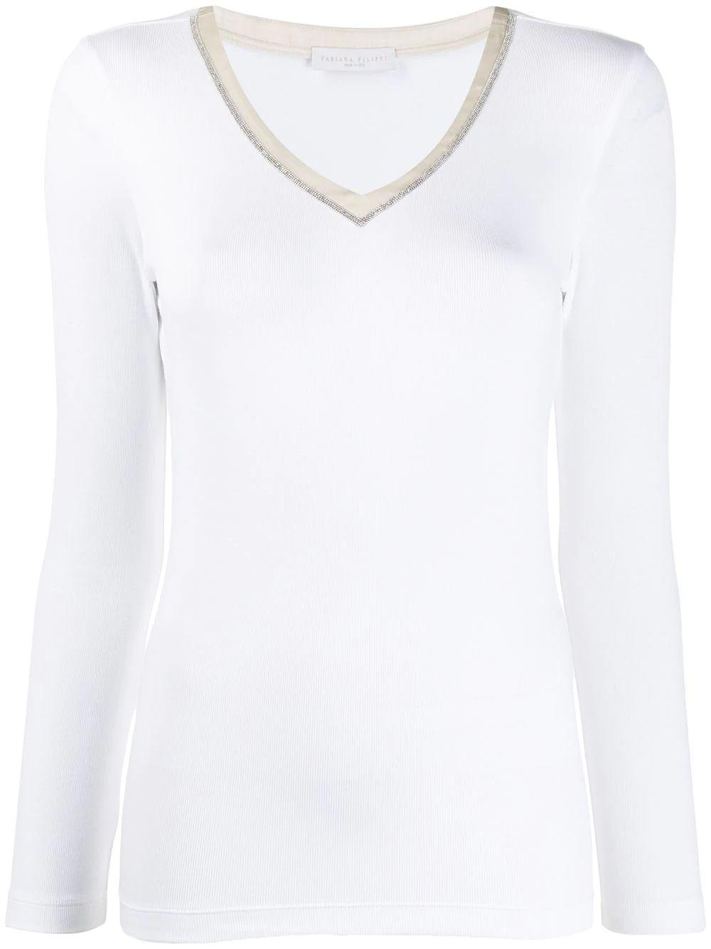 Long Sleeve V- Neck Ribbed Cotton Top Item # JED260W453