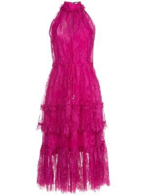 Magdalina High Neck Lace Midi Dress