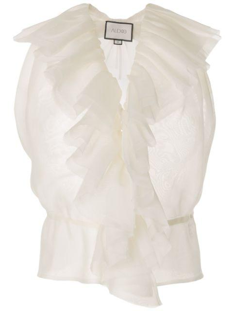 Arabel Halter Ruffle Trim Sleeveless Top