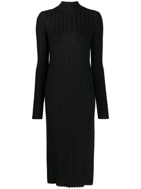 Mixed Rib Turtleneck Dress