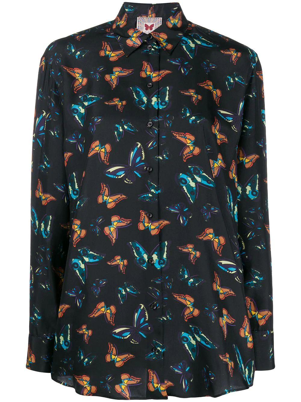 Long Sleeve Butterfly Print Blouse Item # 9C9C751RT293
