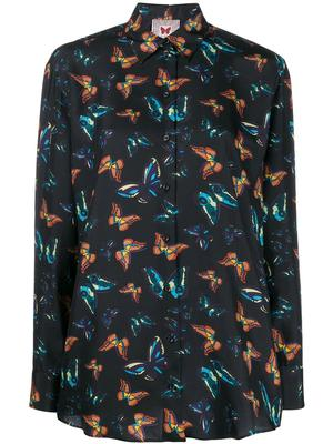 Long Sleeve Butterfly Print Blouse