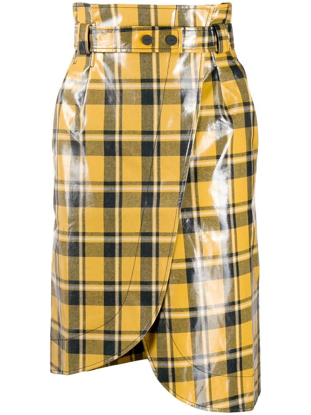Coated Twill Plaid Midi Skirt