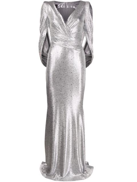 V- Neck Mirrorball Stretch Gown With Infini Item # ROSIN12-R20