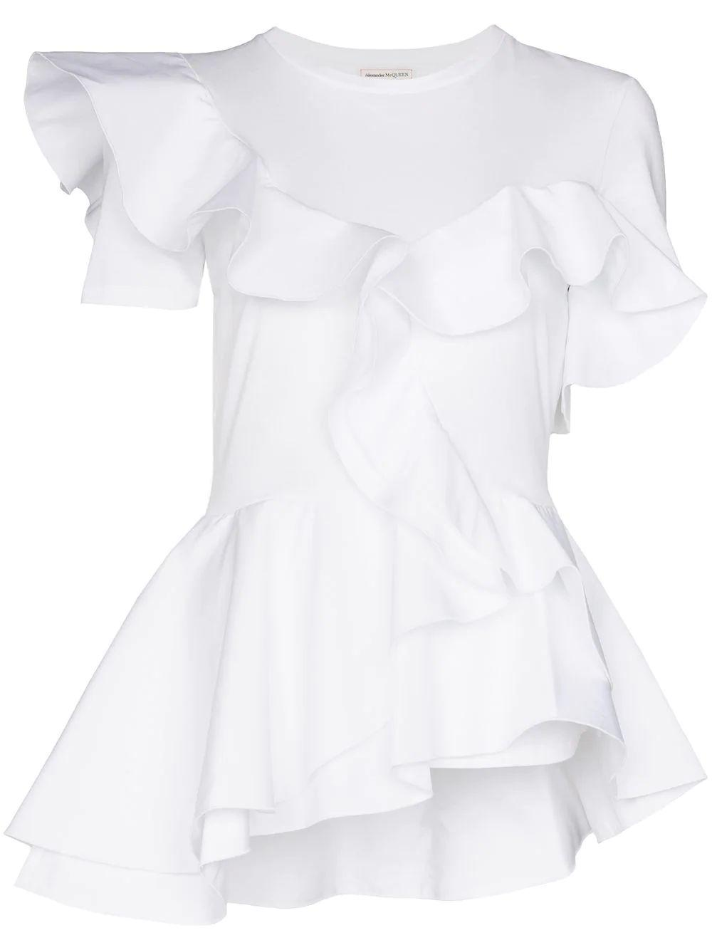 Short Sleeve Cotton Tee With Ruffle Detailing