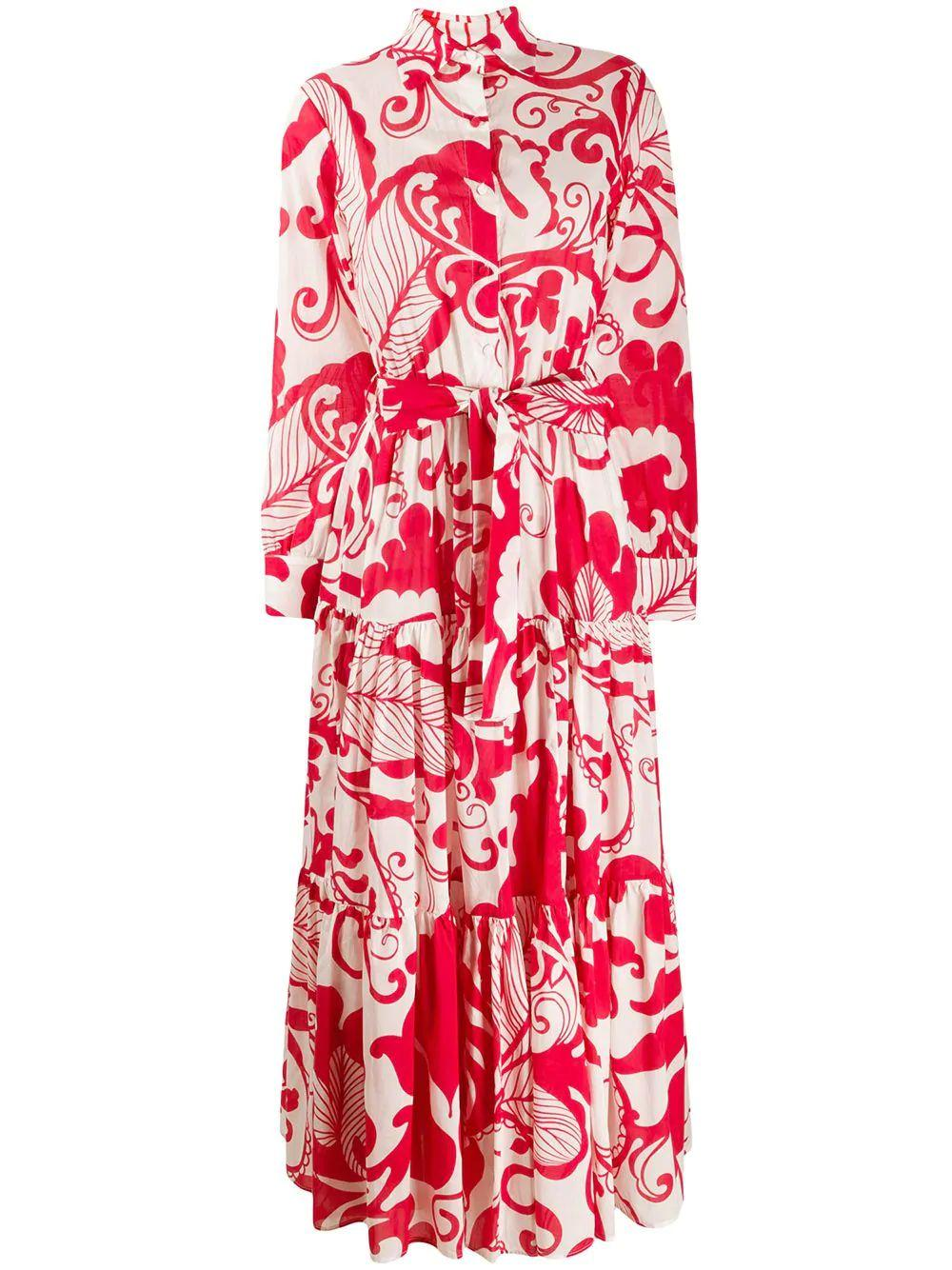 Bellini Long Sleeve Print Shirt Dress With Tiered Item # DRE0016-COT003