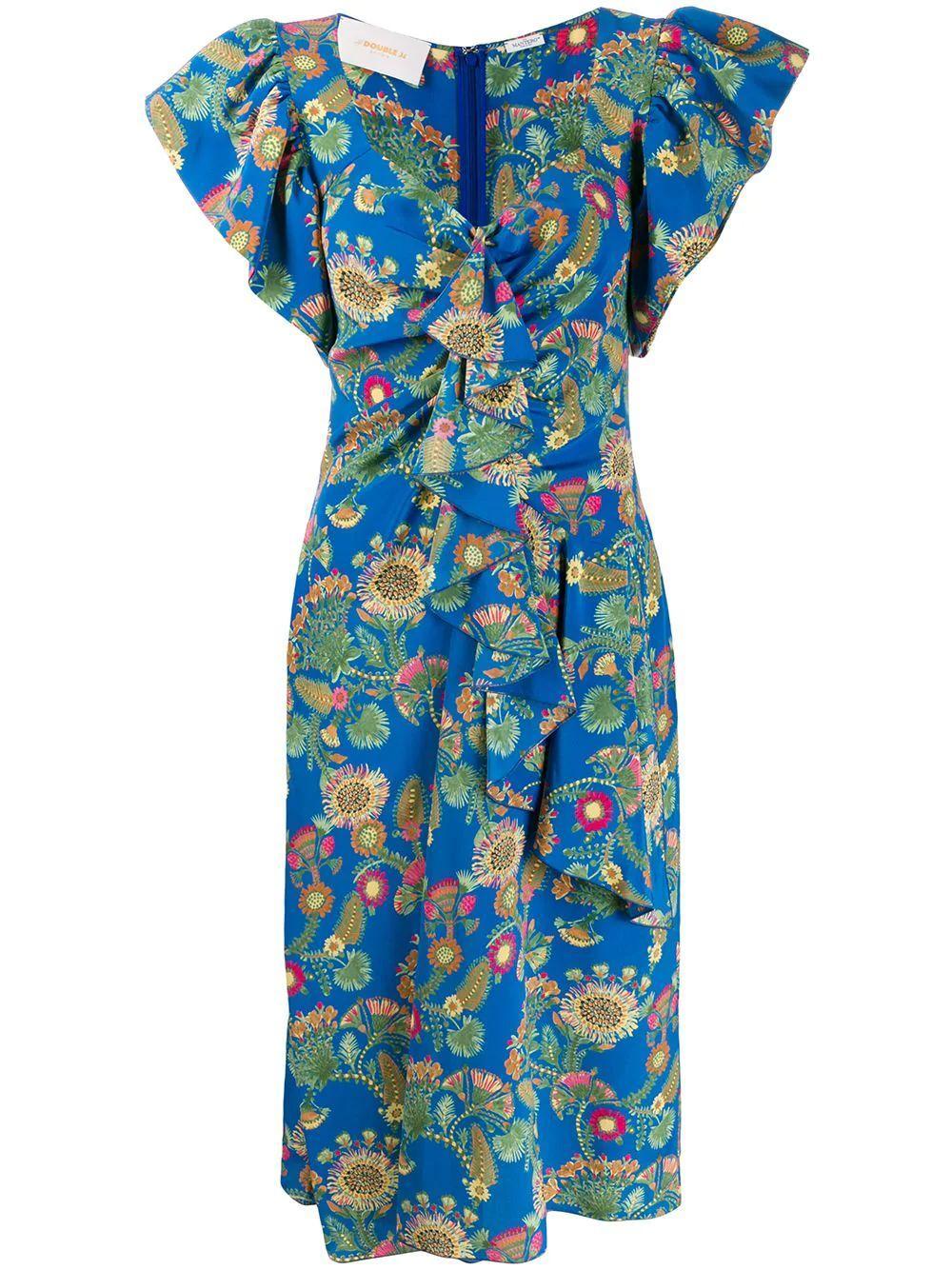 Date Night Ruffle Shoulder Printed Dress Item # DRE0112-CRE001