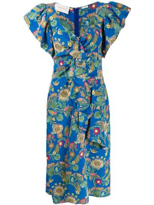 Date Night Ruffle Shoulder Printed Dress