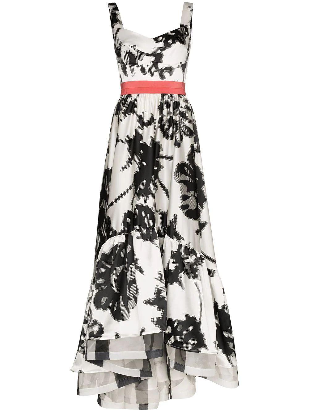 Floral Printed High Low Dress