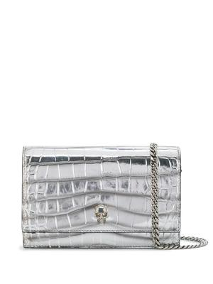 Croc Embossed Skull Bag With Chain Strap