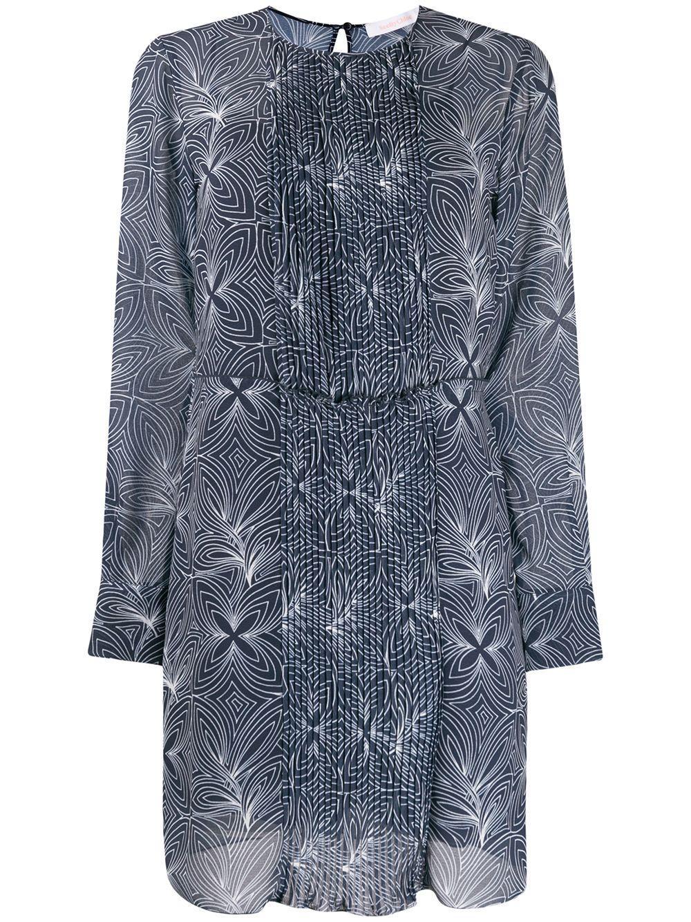 Long Sleeve Geo Floral On Georgette Dress