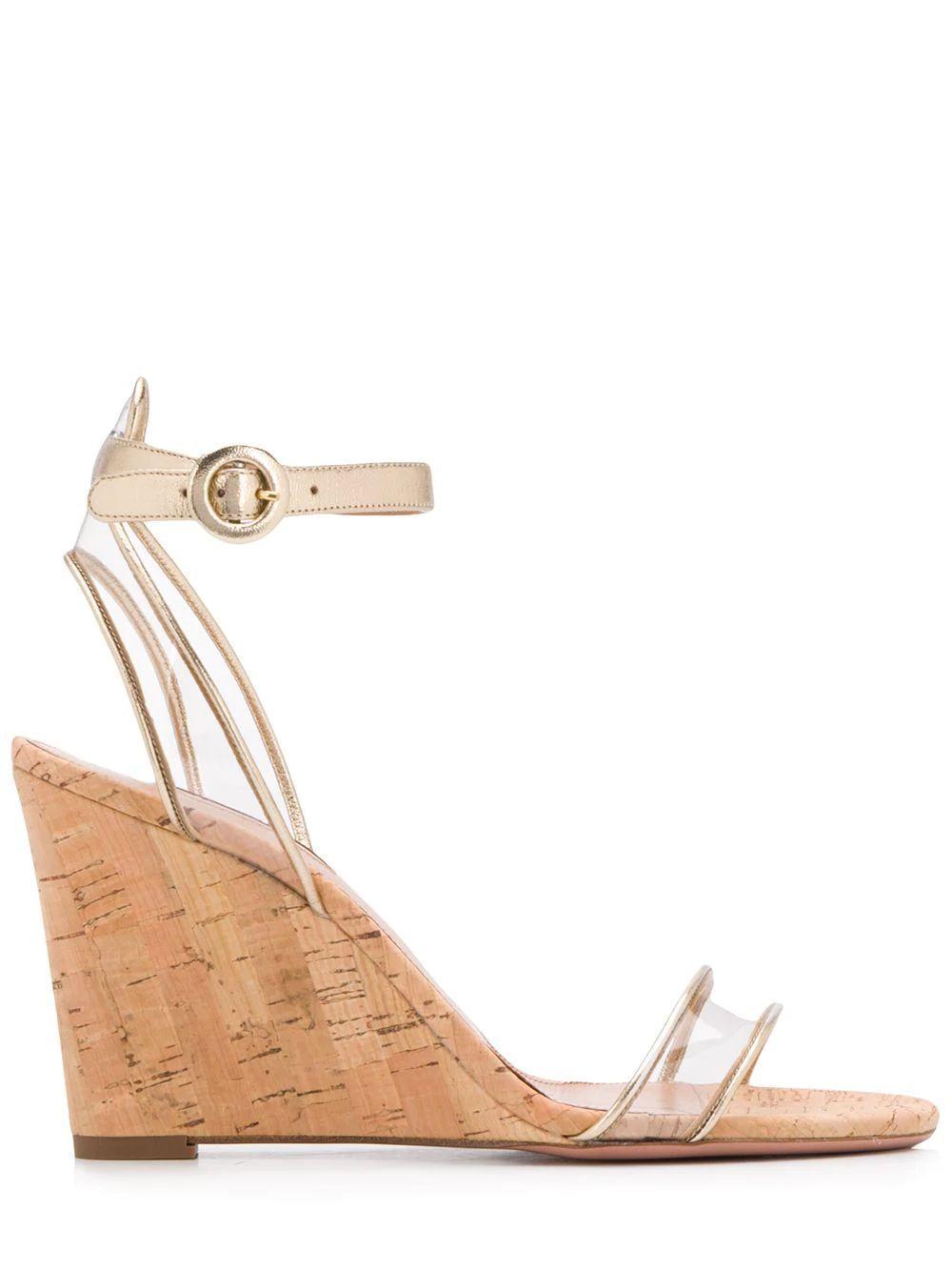 Minimalist Leather/Pvc 85mm Wedge Sandal Item # MINMIDW0-NLP