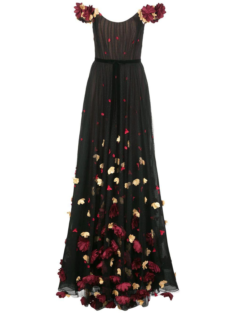 Off The Shoulder Draped Gown With 3d Flower Item # N37G1122