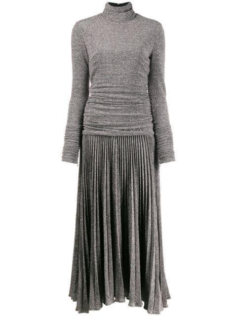 Long Sleeve T-Neck Printed Lurex Pleated Dress