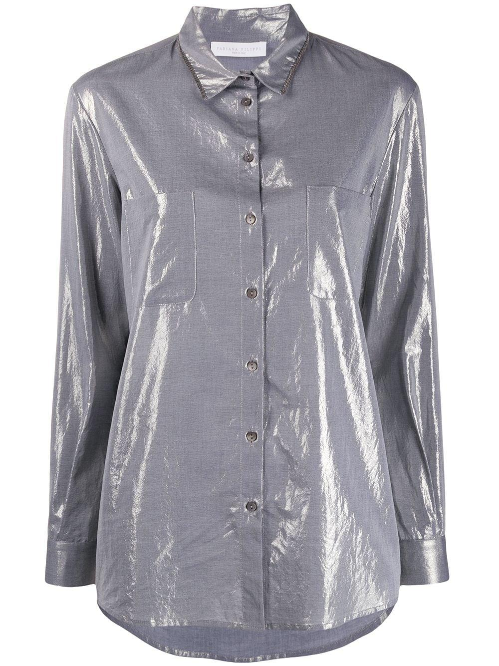 Long Sleeve Laminated Button Down Shirt