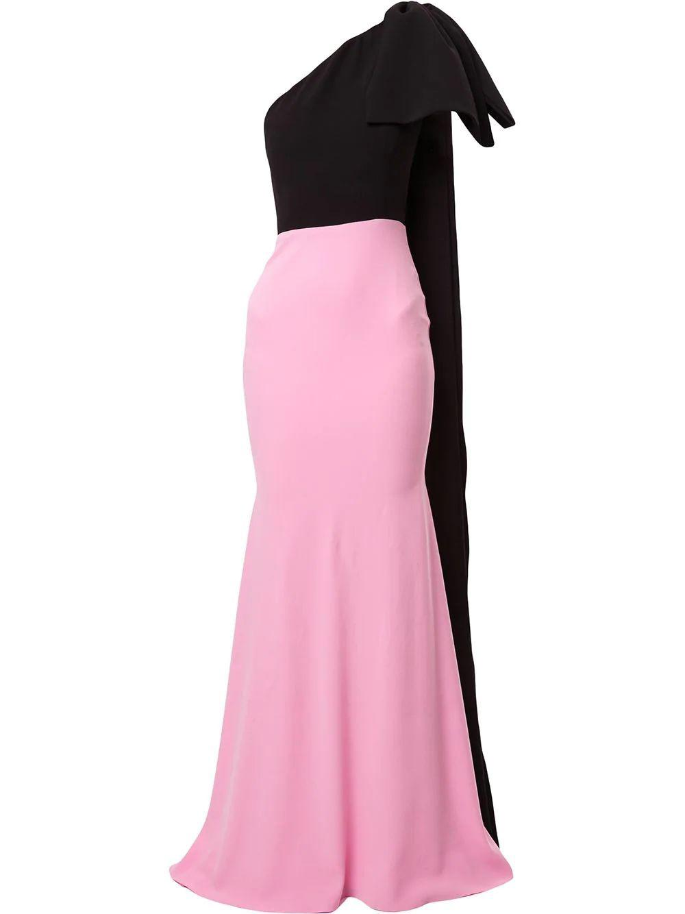 Anderson Satin Crepe Bow Cb Gown Item # D612