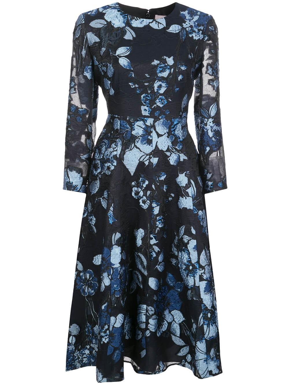 Long Sleeve Degrade Floral Fil Couple Full Skirt