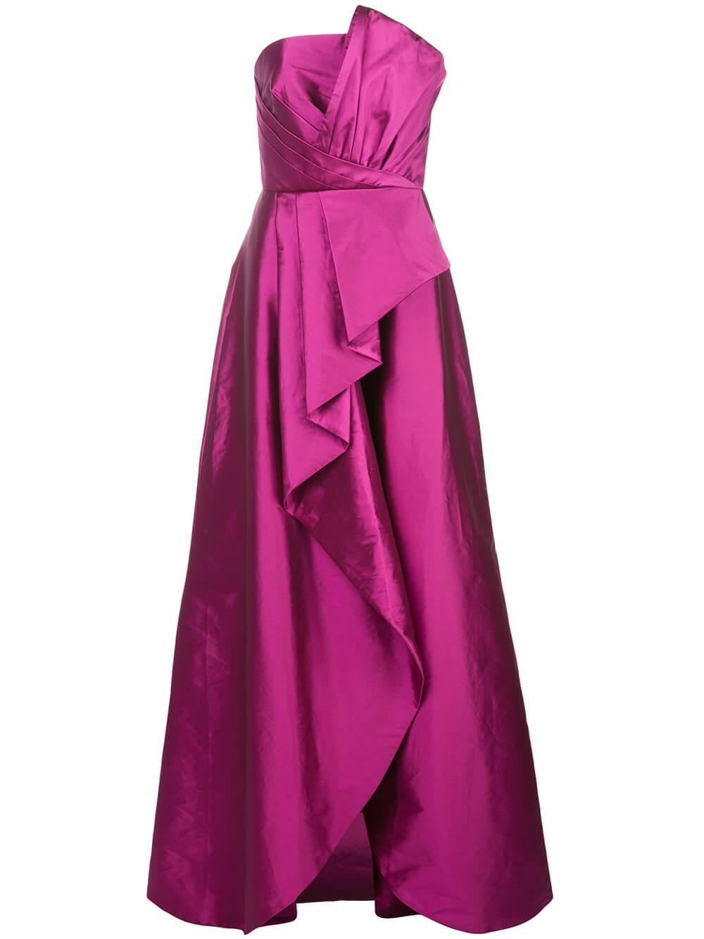 Pleat Detail Gown With Draped Skirt
