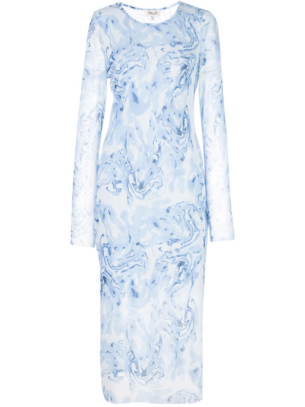 Jolanda Printed Mesh Midi Dress