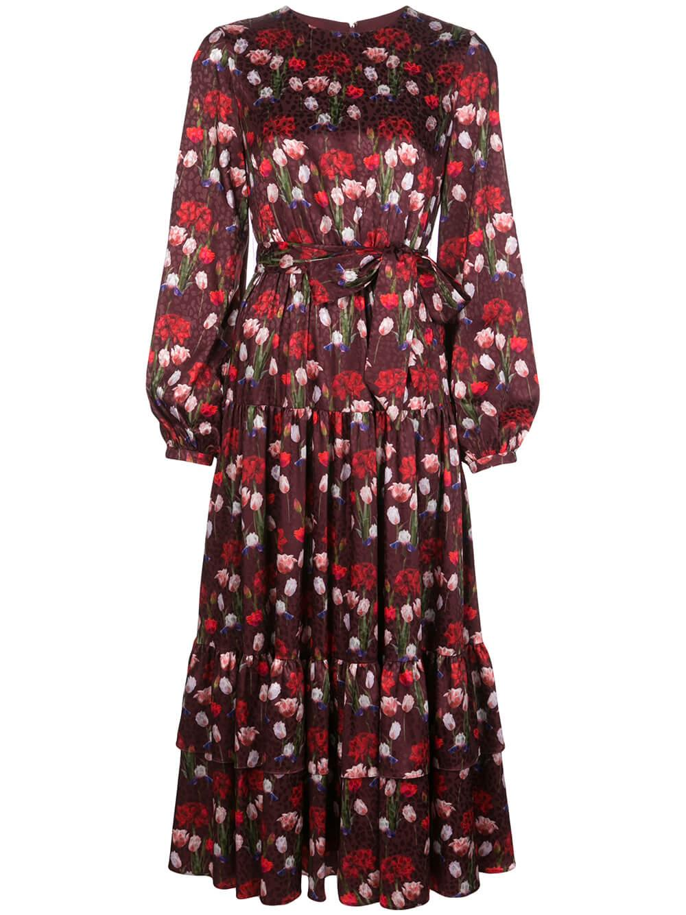 Long Sleeve Satin Jacquard Tulip Field Long Dress