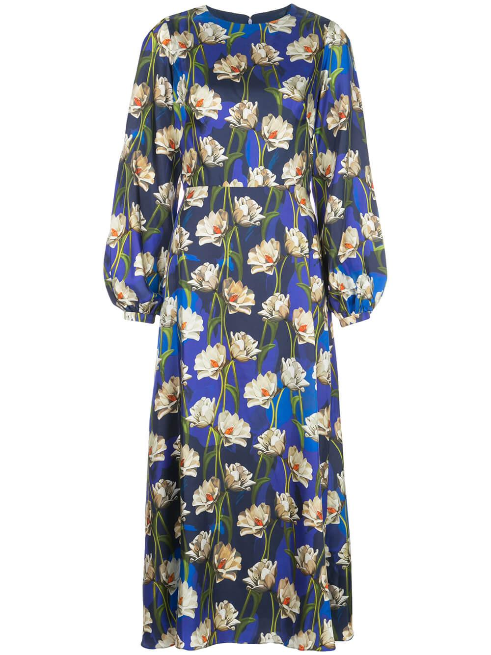 Long Sleeve Twill Magnolia Garden Long Dress