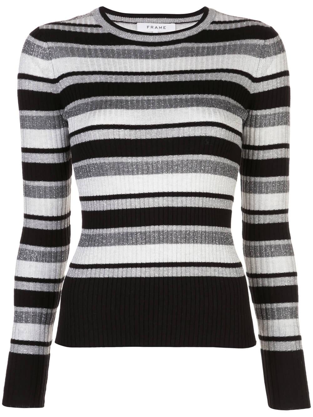 Panel Stripe Crew Sweater