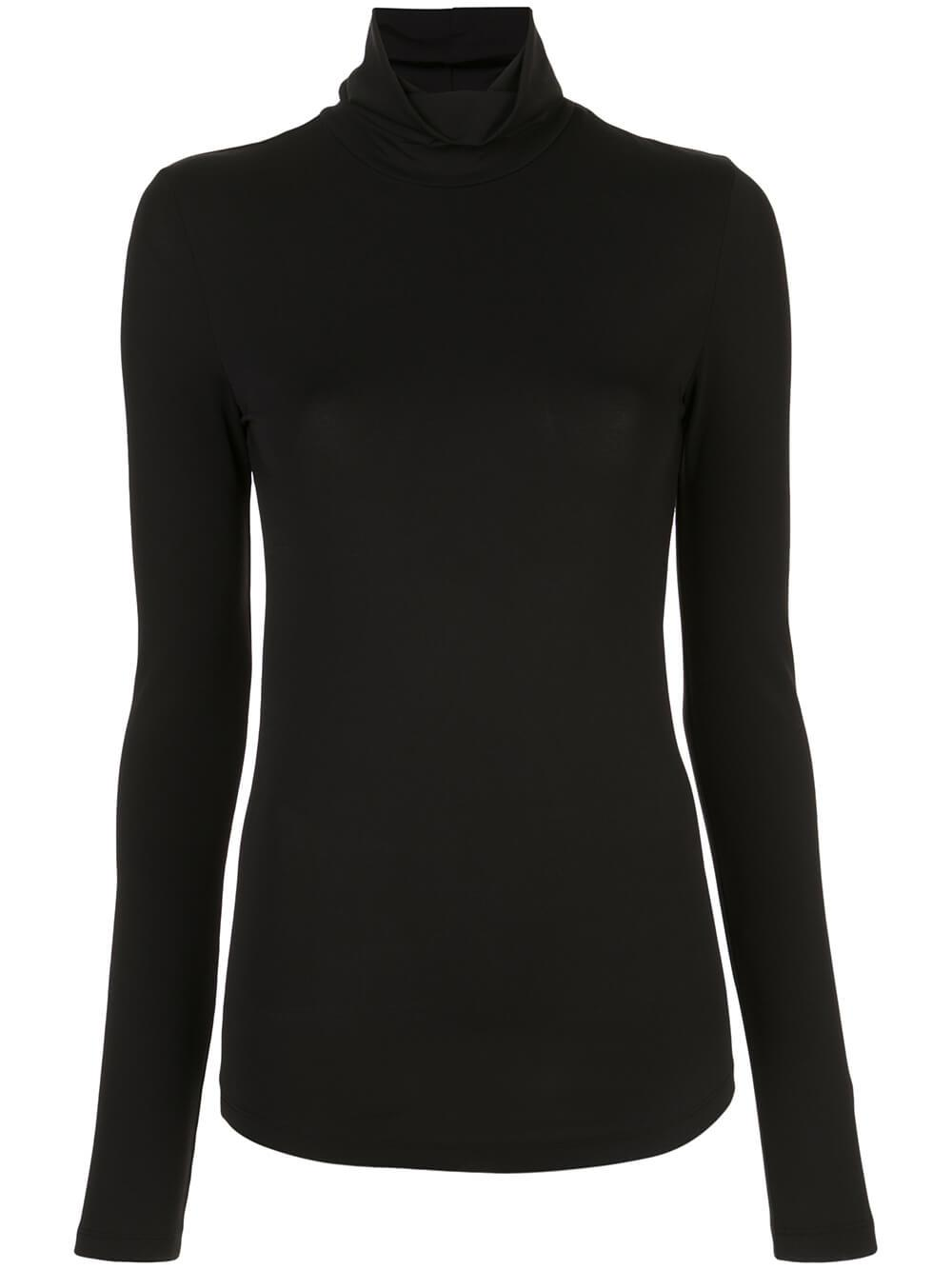Long Sleeve Solid Jersy T-Neck Top