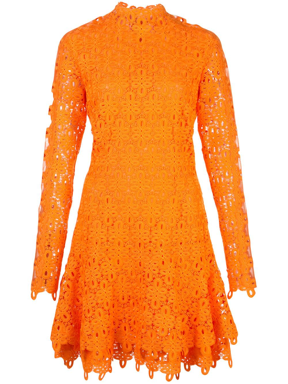 Long Sleeve Giupure Lace Mini Dress