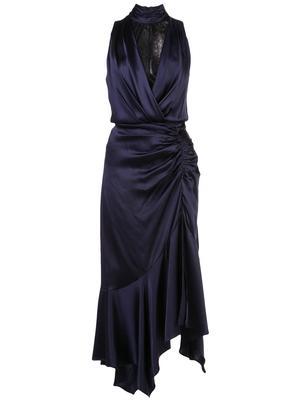 Sleeve Less Silk Lace Slit Dress